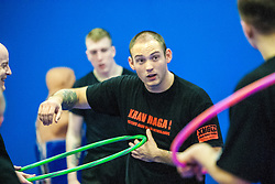 Stef Noij, KMG Instructor from the Institute Krav Maga Netherlands, using the hoop as a prop, at the IKMS G Level Programme seminar today at the Scottish Martial Arts Centre, Alloa.