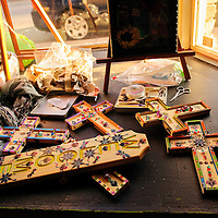 010914  Adron Gardner/Independent<br /> <br /> Decorative crucifixes made by artist Alicia Esparza await display for Artscrawl at the Industry Gallery in Gallup Friday.