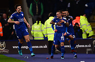 Jamie Vardy of Leicester city (9)  celebrates with his team mates after he scores his teams 1st goal to make it 1-0 .Premier league match, Leicester City v Tottenham Hotspur at the King Power Stadium in Leicester, Leicestershire on Tuesday 28th November 2017.<br /> pic by Bradley Collyer, Andrew Orchard sports photography.