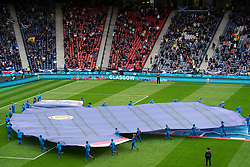 A giant Scotland shirt on the pitch before the UEFA Euro 2020 Group D match at Hampden Park, Glasgow. Picture date: Monday June 14, 2021.