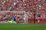 Arsenal's Héctor Bellerín(24) shoots at goal saved by Chelsea goalkeeper Thibaut Courtois(13) during the The FA Cup final match between Arsenal and Chelsea at Wembley Stadium, London, England on 27 May 2017. Photo by Shane Healey.