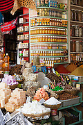 Spices and soaps for sale at a shop in the medina of Marrakech, Morocco