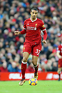 Joel Matip of Liverpool in action. Premier League match, Liverpool v Leicester City at the Anfield stadium in Liverpool, Merseyside on Saturday 30th December 2017.<br /> pic by Chris Stading, Andrew Orchard sports photography.