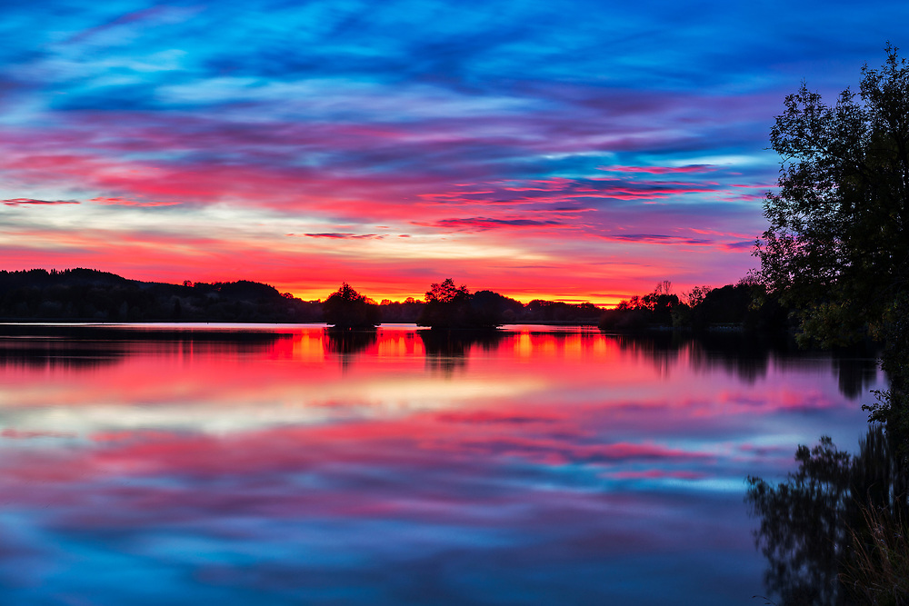 Scenic view of sunset on Seehamer See, Bavaria, Germany, Europe