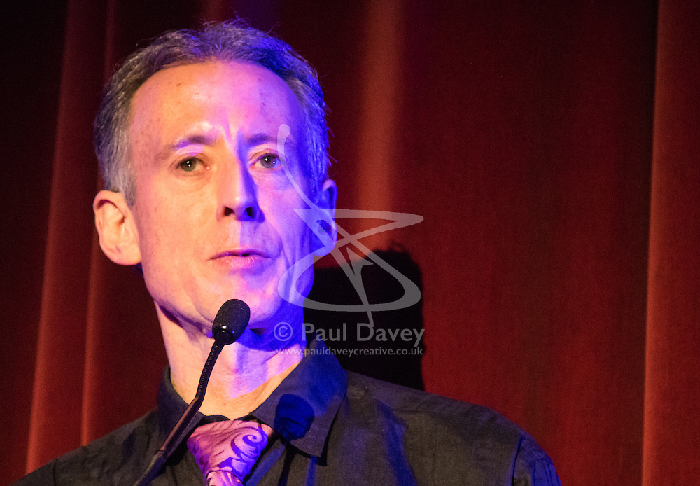 Old Town Hall, Stratford, London - 28 November 2015. Singers Marc Almond, Ronan Parke, Heather Peace and Asifa Lahore headline the Peter Tatchell Foundation's inaugural Equality Ball, a fundraiser for the foundation's LGBTI and human rights work, with guest of honour Sir Ian McKellen  joined by Paul O'Grady, Rupert Everett and Michael Cashman. PICTURED: Peter Tatchell addresses the guests. //// FOR LICENCING CONTACT: paul@pauldaveycreative.co.uk TEL:+44 (0) 7966 016 296 or +44 (0) 20 8969 6875. ©2015 Paul R Davey. All rights reserved.