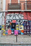 posters and graffiti in rua da Rosa, Lisbon Portugal