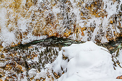 Looking straight down to the Yellowstone below into the bottom of the Grand Canyon of the Yellowstone in Winter.