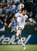 Honduras forward Carlo Costly, right, and Guatemala defender Cristian Noriega battle for the ball during the first half of a CONCACAF Gold Cup soccer match on Monday,  June 6, 2011 in Carson, Calif. (AP Photo/Bret Hartman)