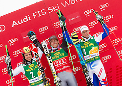 Second placed HIRSCHER Marcel of Austria, winner LIGETY Ted of USA and third placed PINTURAULT Alexis of France celebrate at trophy ceremony after the 2nd Run of 7th Men's Giant Slalom - Pokal Vitranc 2013 of FIS Alpine Ski World Cup 2012/2013, on March 9, 2013 in Vitranc, Kranjska Gora, Slovenia. (Photo By Vid Ponikvar / Sportida.com)