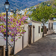 A street in the town of Alpujarras de la Sierra, Spain, with a view of the Sierra Nevada mountains in the background.
