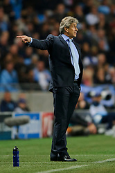 Man City Manager Manuel Pellegrini (CHI) points during the first half of the match - Photo mandatory by-line: Rogan Thomson/JMP - Tel: Mobile: 07966 386802 - 02/10/2013 - SPORT - FOOTBALL - Etihad Stadium, Manchester - Manchester City v Bayern Munich - UEFA Champions League Group D.
