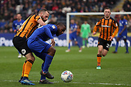 Cardiff City forward Kenneth Zohore (10) battles for possession with Hull City midfielder David Meyler (8) during the EFL Sky Bet Championship match between Hull City and Cardiff City at the KCOM Stadium, Kingston upon Hull, England on 28 April 2018. Picture by Mick Atkins.
