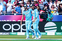 Joe Root of England celebrates with Mark Wood of England  after taking the a catch to dismiss Colin de Grandhomme of New Zealand - Mandatory by-line: Robbie Stephenson/JMP - 03/07/2019 - CRICKET - Emirates Riverside - Chester-le-Street, England - England v New Zealand - ICC Cricket World Cup 2019 - Group Stage