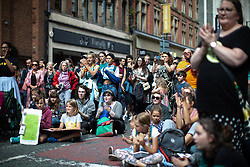 © Licensed to London News Pictures. 30/08/2019. Manchester, UK. Extinction Rebellion block Deansgate in Manchester City Centre , at the start of several days of planned disruption organised by environmental campaigners . Manchester City Council has declared a climate emergency but activists say the council's development plans do not reflect this . Photo credit: Joel Goodman/LNP