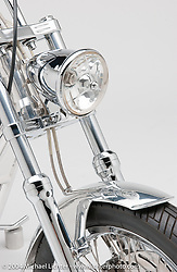 """Aluminum Ohc Evo,"" built by Arlen Ness featuring one of Arlen's early overhead-cam motors which he built from desgins made for him by Pete Ardema. Appears in book ""The King of Choppers,"" by Michael Lichter and Arlen Ness and foreward by Sonny Barger."