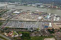 © Licensed to London News Pictures. 26/04/2016. Purfleet UK. Purfleet Thames Terminal, Cobelfret roll on roll off terminal. C.RO Ports London Ltd, London Road, Purfleet, Essex.  Photo credit: Martin Apps/LNP