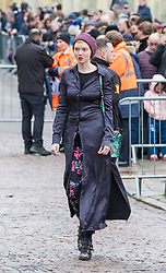 © Licensed to London News Pictures. 31/03/2018. Cambridge, UK. Lily Cole arrives at the funeral of Stephen Hawking at Church of St Mary the Great in Cambridge, Cambridgeshire. Professor Hawking, who was famous for ground-breaking work on singularities and black hole mechanics, suffered from motor neurone disease from the age of 21. He died at his Cambridge home in the morning of 14 March 2018, at the age of 76. Photo credit: Rob Pinney/LNP