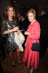 Left to right, TARA PALMER-TOMKINSON and DAME NORMA MAJOR at a gala dinner in celebration of 80 years since the first Foyles Literary Luncheon, held in The Ball Room, Grosvenor House Hotel, Park Lane, London on 21st October 2010.