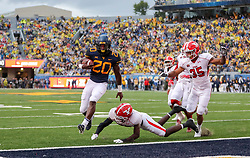 Sep 8, 2018; Morgantown, WV, USA; West Virginia Mountaineers running back Alec Sinkfield (20) runs for a touchdown during the first quarter against the Youngstown State Penguins at Mountaineer Field at Milan Puskar Stadium. Mandatory Credit: Ben Queen-USA TODAY Sports