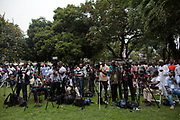 Media setup at the private residence of presidential hopeful Nana Akuffo-Addo ahead of the official Electoral Commission declaration of election results. Accra-Ghana. December 8, 2016. Photo; Francis Kokoroko