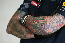 Red Bull Racing mechanic with tattoos.<br /> 28.10.2016. Formula 1 World Championship, Rd 19, Mexican Grand Prix, Mexico City, Mexico, Practice Day.<br /> Copyright: Moy / XPB Images / action press
