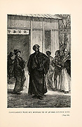 Passepartout went out muffled up in an old Japanese robe. from the book ' Around the world in eighty days ' by Jules Verne (1828-1905) Translated by Geo. M. Towle, Published in Boston by James. R. Osgood & Co. 1873 First US Edition