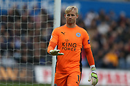 Kasper Schmeichel, the goalkeeper of Leicester city looks on. Premier league match, Swansea city v Leicester city at the Liberty Stadium in Swansea, South Wales on Saturday 21st October 2017.<br /> pic by  Andrew Orchard, Andrew Orchard sports photography.