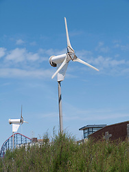Wind turbine outside Solaris Centre, Blackpool.
