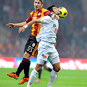 Galatasaray's Sabri SARIOGLU (L) during their Turkish Super League soccer match Galatasaray between Eskisehirspor at the Turk Telekom Arena at Seyrantepe in Istanbul Turkey on Sunday, 06 February 2011. Photo by TURKPIX