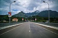 Perspective of the Pa Uan bridge crossing the Da River, Muong La District, Son La Province, Vietnam, Southeast Asia