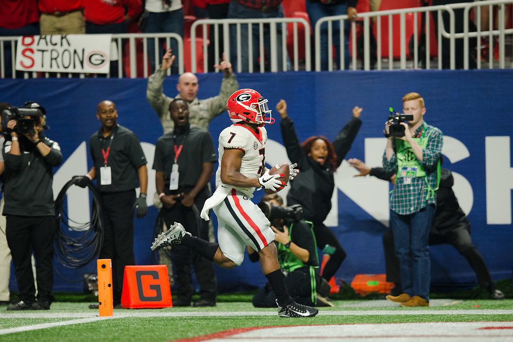 Georgia Bulldogs running back D'Andre Swift (7)<br /> <br /> NCAA College Football: SEC Championship Georgia Bulldogs v Auburn Tigers<br /> SEC Championship UGA Bulldogs v AU Tigers<br /> Mercedes-Benz Stadium/Atlanta, GA, USA<br /> 12/2/2017<br /> X161564 TK1<br /> Credit: Kevin Liles Photographed for Sports Illustrated