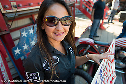 Sandra Donmoyer of the California Hell Riders Wall Of Death at the Iron Horse Saloon during the 2015 Biketoberfest Rally. Ormond Beach, FL, USA. October 17, 2015.  Photography ©2015 Michael Lichter.