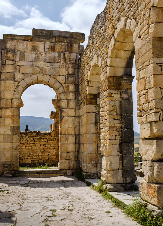 MEKNES, MOROCCO - CIRCA APRIL 2017:  Archeological site of Volubilis, an historical landmark and popular tourist attraction in Morocco.