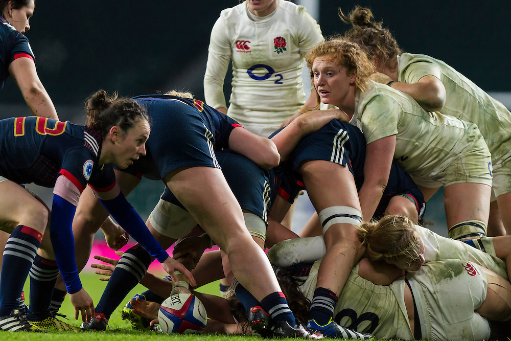 Harriet Millar-Mills looks to see when Yanna Rivoalen gets the ball out of a ruck, England Women v France Women in a 6 Nations match at Twickenham Stadium, London, England, on 4th February 2017 Final Score 26-13.