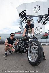 Yoshikazu Ueda and Yuichi Yoshizawa all the way from Japan with their custom Harley-Davidson Street 750 at the Easyriders Bike Show at the Buffalo Chip's Crossroads area during the Sturgis Black Hills Motorcycle Rally. SD, USA. August 10, 2016. Photography ©2016 Michael Lichter.