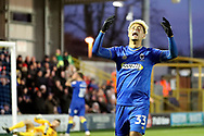AFC Wimbledon striker Lyle Taylor (33) with arms in air after a miss during the EFL Sky Bet League 1 match between AFC Wimbledon and Walsall at the Cherry Red Records Stadium, Kingston, England on 25 November 2017. Photo by Matthew Redman.
