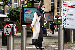 "© Licensed to London News Pictures . 16/09/2020. Bolton , UK . GV of Victoria Square in Bolton Town Centre with signs warning visitors that they face fines if they fail to follow Coronavirus laws , that ""Bolton is open for business "" that skateboarding is prohibited and that details locally prohibited behaviours . The number of recorded cases of Coronavirus has gone over 200 in a single day , in Bolton . Photo credit : Joel Goodman/LNP"