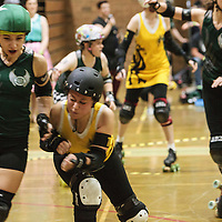 Manchester Roller Derby's Checkerbroads take on the Liverpool Roller Girls at George H Carnall Sports Centre, Manchester, 2014-09-27