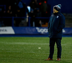 Head Coach John Mulvihill of Cardiff Blues .during the pre match warm up<br /> <br /> Photographer Simon King/Replay Images<br /> <br /> Guinness PRO14 Round 14 - Cardiff Blues v Connacht - Saturday 26th January 2019 - Cardiff Arms Park - Cardiff<br /> <br /> World Copyright © Replay Images . All rights reserved. info@replayimages.co.uk - http://replayimages.co.uk