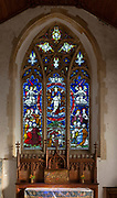 Victorian 19th century stained glass east window church of Saint Margaret, South Elmham, Suffolk, England, UK c 1888 Clayton and Bell