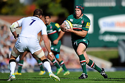 Leicester Tigers number 8 Thomas Waldrom in possession - Photo mandatory by-line: Patrick Khachfe/JMP - Tel: Mobile: 07966 386802 - 21/09/2013 - SPORT - RUGBY UNION - Welford Road Stadium - Leicester Tigers v Newcastle Falcons - Aviva Premiership.