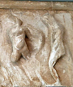 Amazon and a warrior fighting, depicted in part of the Parthenon friezes at the Parthenon/Acropolis museum, Athens