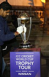 KATHMANDU, Oct. 26, 2018  An official puts the ICC(International Cricket Council) World Cup trophy as it has arrived for the ICC Cricket World Cup Trophy Tour at Swaymbhu in Kathmandu, Nepal, Oct. 26, 2018. (Credit Image: © Sunil Sharma/Xinhua via ZUMA Wire)