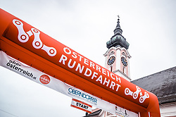 07.07.2019, Wels, AUT, Ö-Tour, Österreich Radrundfahrt, 1. Etappe, von Grieskirchen nach Freistadt (138,8 km), im Bild Logo Österreich Radrundfahrt mit Kirchturm // during 1st stage from Grieskirchen to Freistadt (138,8 km) of the 2019 Tour of Austria. Wels, Austria on 2019/07/07. EXPA Pictures © 2019, PhotoCredit: EXPA/ JFK