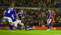 05.01.2014, Anfield, Liverpool, ENG, FA Cup, FC Liverpool vs FC Oldham Athletic, 3. Runde, im Bild Liverpool's Raheem Sterling scores the second goal against Oldham Athletic // during the English FA Cup 3rd round match between Liverpool FC and Oldham Athletic FC at the Anfield in Liverpool, Great Britain on 2014/01/05. EXPA Pictures © 2014, PhotoCredit: EXPA/ Propagandaphoto/ David Rawcliffe<br /> <br /> *****ATTENTION - OUT of ENG, GBR*****