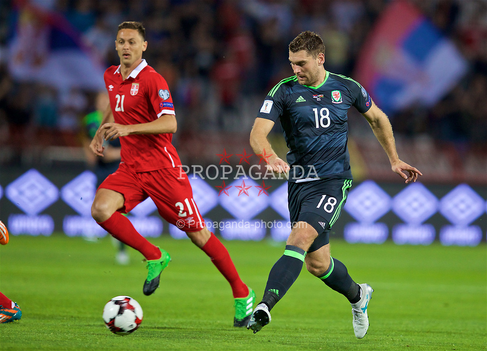 BELGRADE, SERBIA - Sunday, June 11, 2017: Wales' Sam Vokes during the 2018 FIFA World Cup Qualifying Group D match between Wales and Serbia at the Red Star Stadium. (Pic by David Rawcliffe/Propaganda)