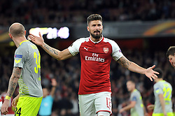 Olivier Giroud of Arsenal appeals to the fourth official - Mandatory by-line: Patrick Khachfe/JMP - 14/09/2017 - FOOTBALL - Emirates Stadium - London, England - Arsenal v Cologne - UEFA Europa League Group stage