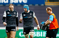 Justin Tipuric of Ospreys with team-mate Cory Allen<br /> <br /> Photographer Simon King/Replay Images<br /> <br /> Guinness PRO14 Round 18 - Ospreys v Dragons - Saturday 23rd March 2019 - Liberty Stadium - Swansea<br /> <br /> World Copyright © Replay Images . All rights reserved. info@replayimages.co.uk - http://replayimages.co.uk