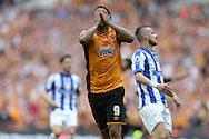 Abel Hernandez of Hull City reacts after missing a chance to score. Skybet football league Championship play off final match, Hull city v Sheffield Wednesday at Wembley Stadium in London on Saturday 28th May 2016.<br /> pic by John Patrick Fletcher, Andrew Orchard sports photography.