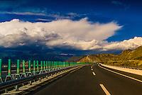 Highway near Lhasa, Tibet (Xizang), China.